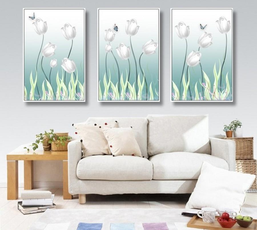 Tranh treo tường hoa tulip xanh cách điệu (A-112)