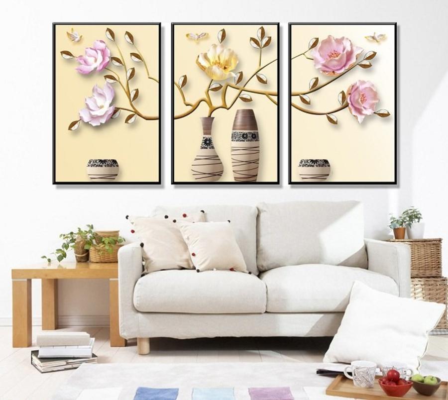 Tranh treo tường lọ hoa cách điệu nghệ thuật (A-093)