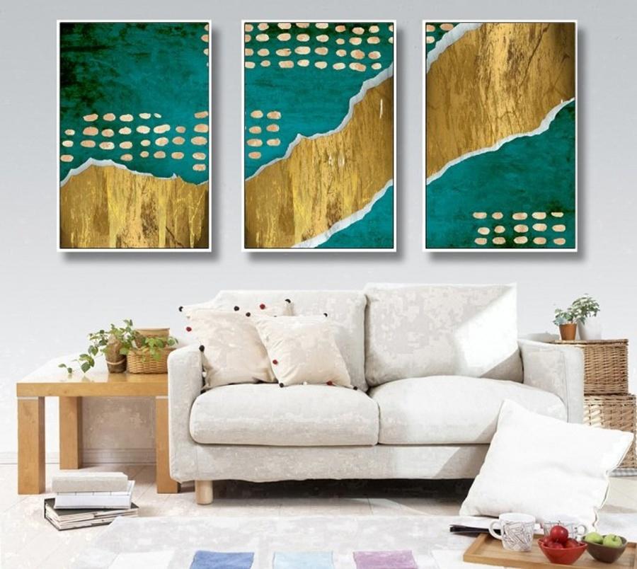 Tranh nghệ thuật trừu tượng biển và núi