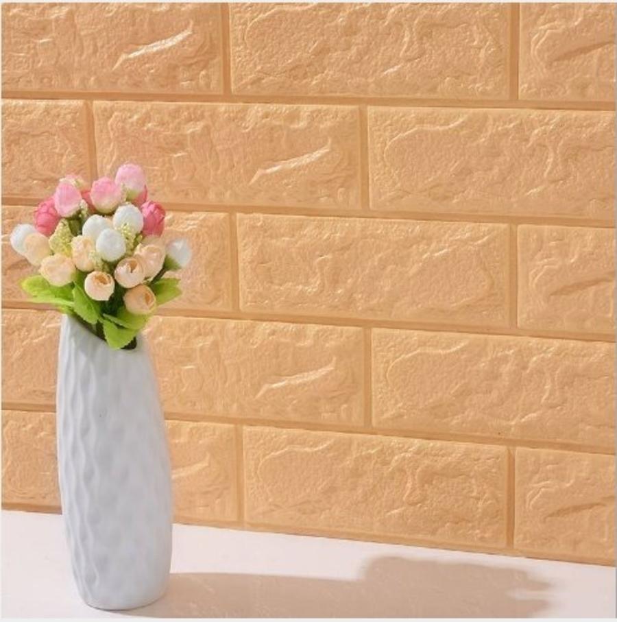 Xốp đá dán tường 3D vàng nhạt