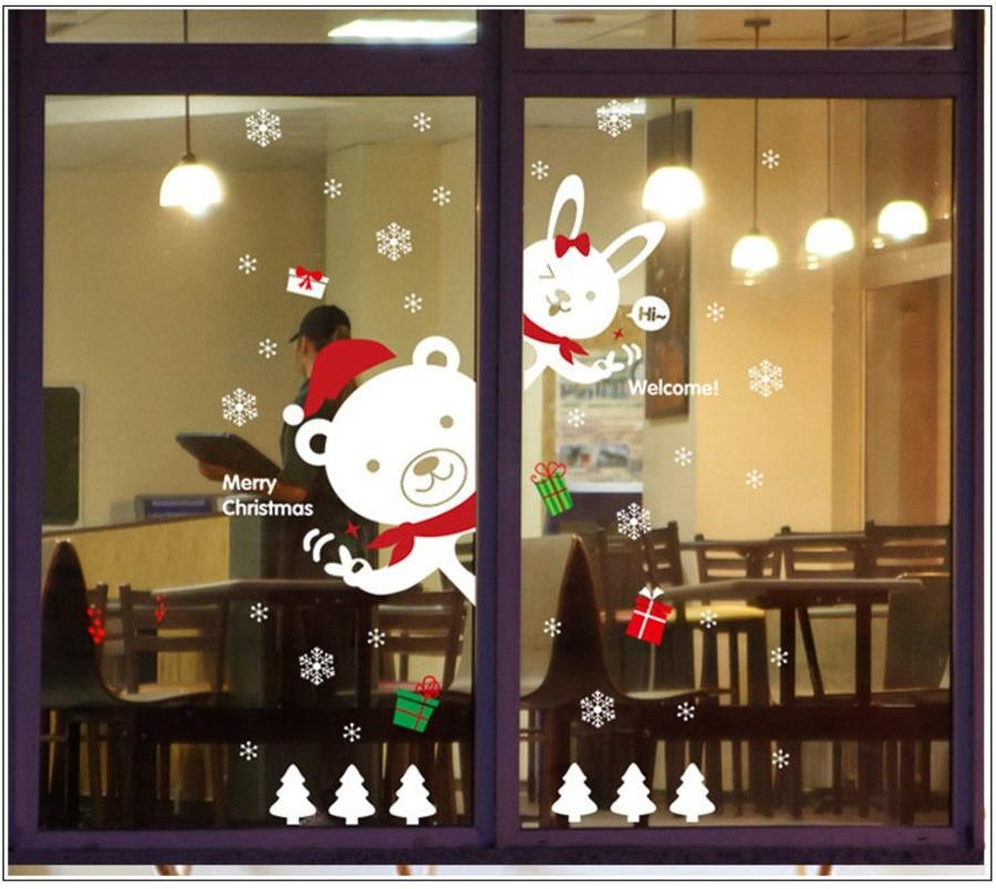 Decal trang trí Noel Gấu và Thỏ