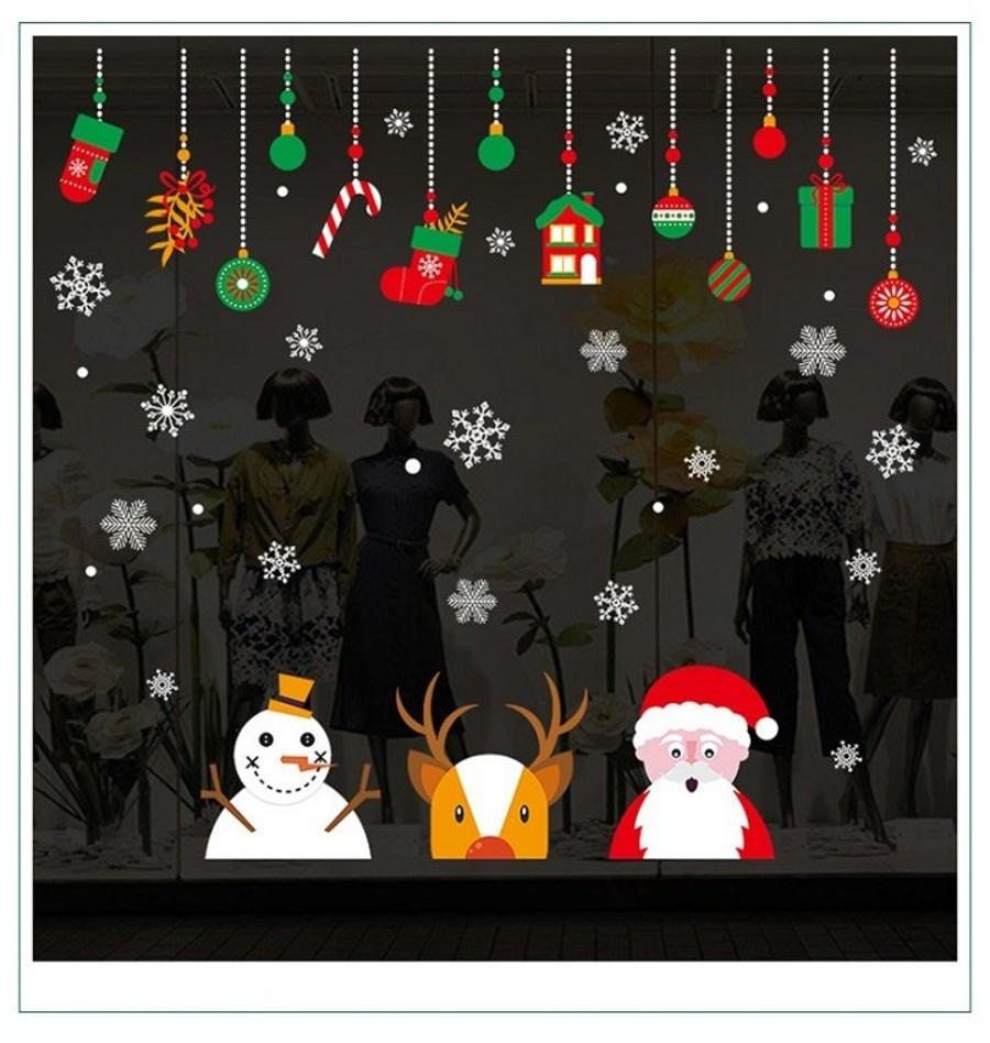 Decal trang trí noel ông già Noel cùng tuần lộc và người tuyết