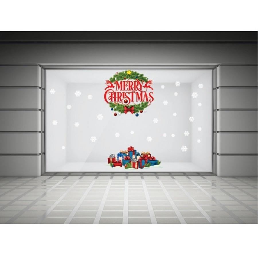 Decal dán tường Merry Christmas và hộp quà Noel