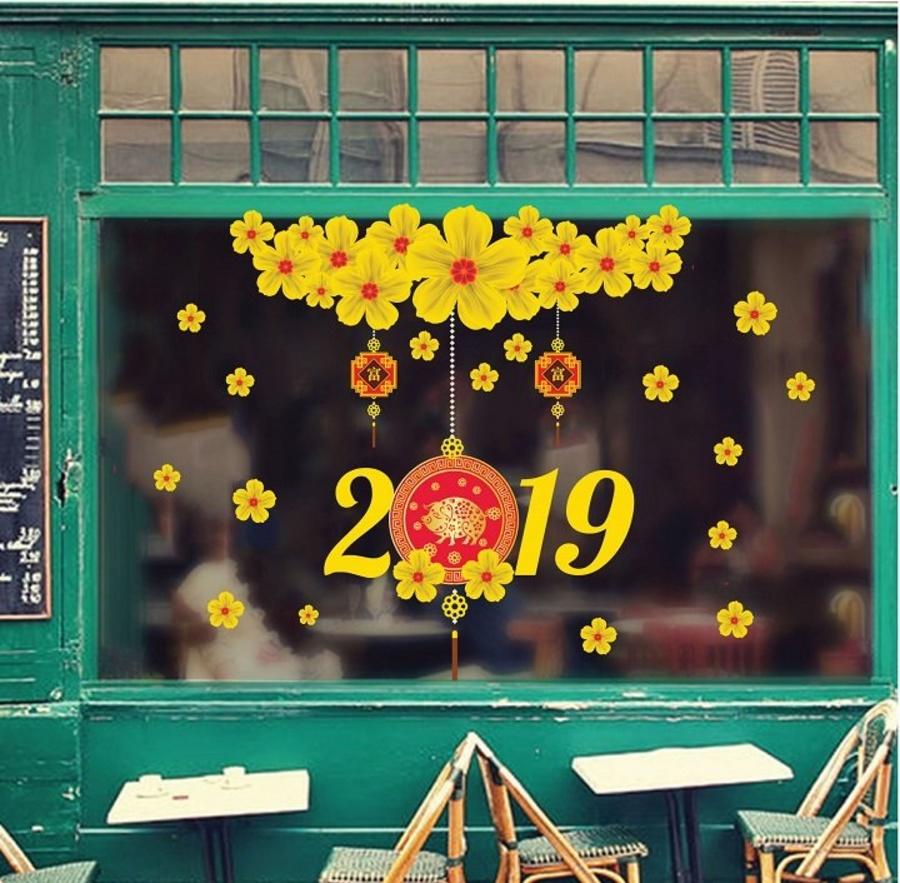 Decal trang trí tết mai vàng tài lộc 2019