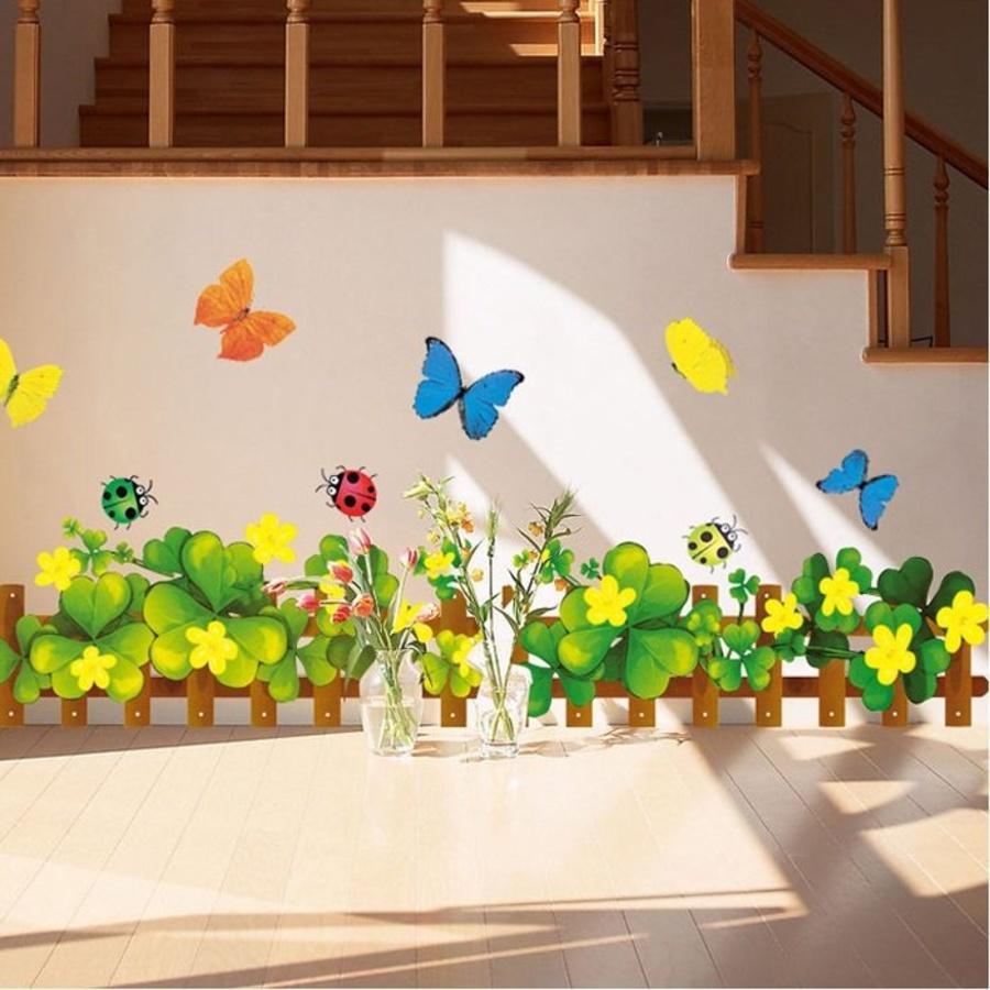 Chân tường cỏ ba lá hoa vàng