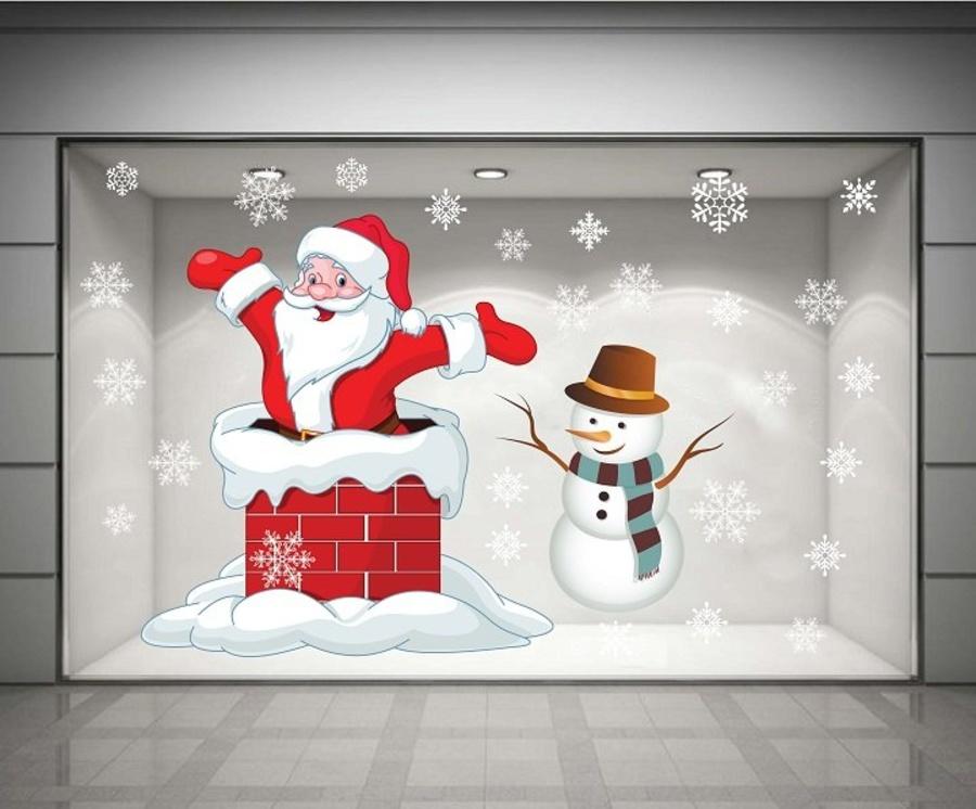 Decal dán tường Ông già Noel và người tuyết 02 (nền trắng đục)