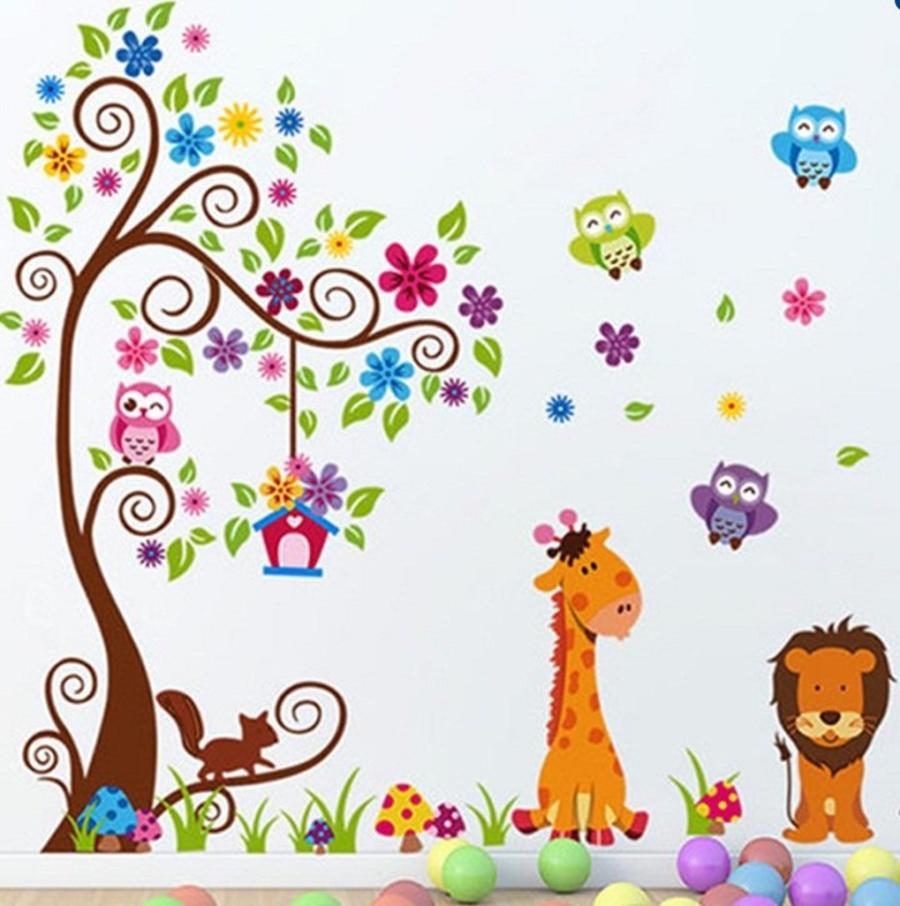 Decal dán tường vườn thú to 4
