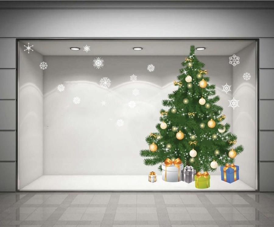 Decal dán tường Cây thông Noel xanh 03 (nền trắng đục)