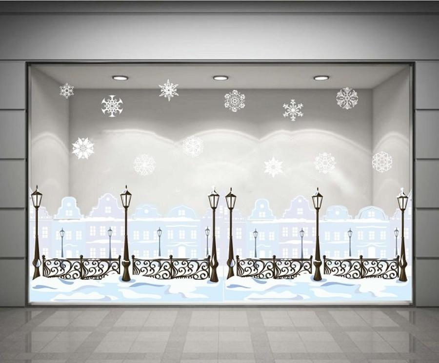 Decal dán tường Cột đèn đêm Noel (nền trắng đục)