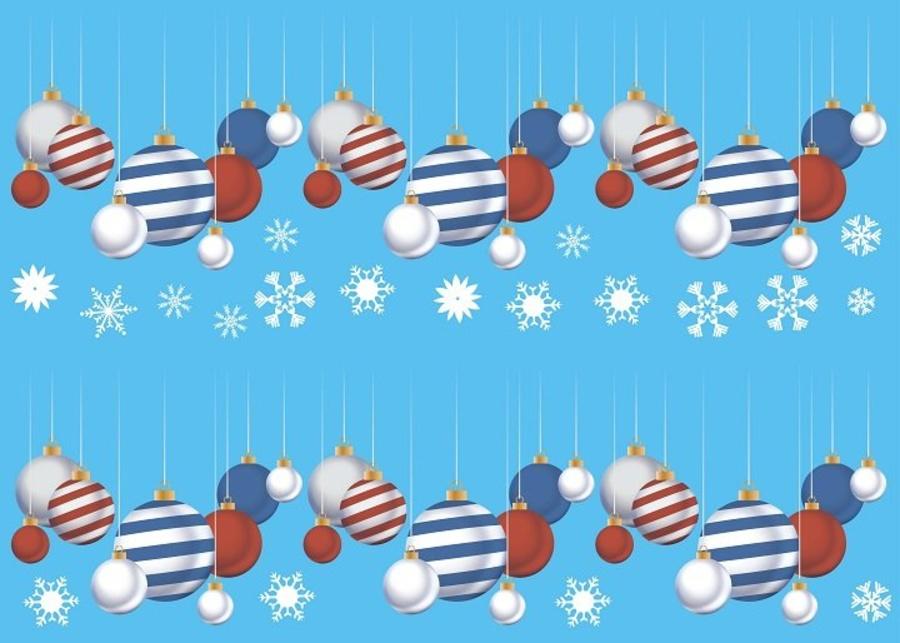 Decal dán tường Dây treo quả cầu Noel (nền trắng đục)