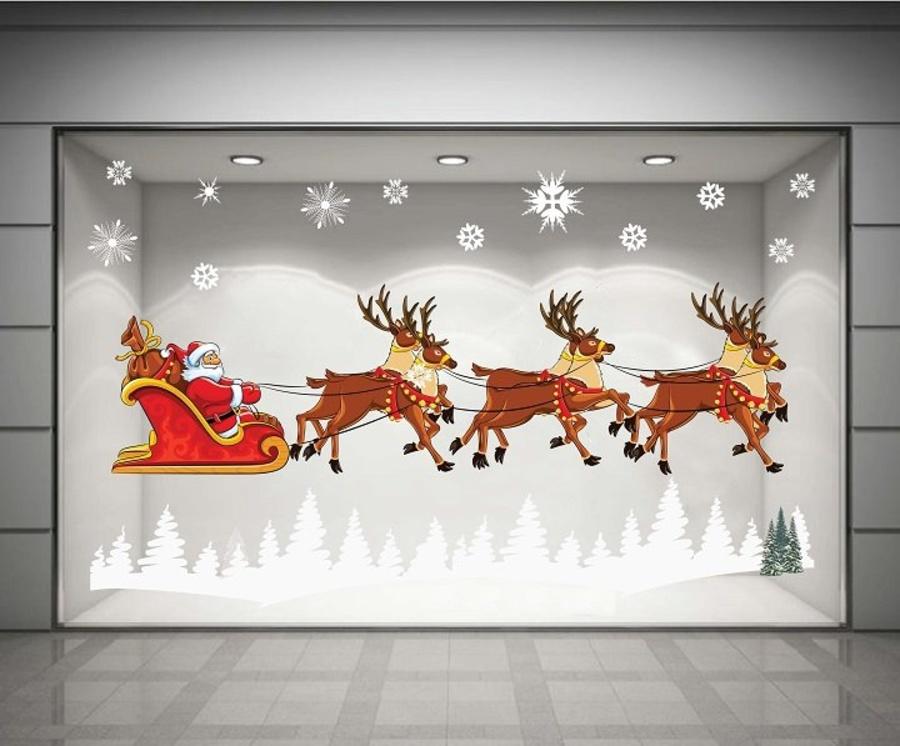 Decal dán tường Ông già Noel và đàn tuần lộc 02 (nền trắng đục)