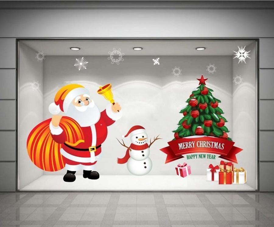 Decal dán tường Ông già Noel và quà giáng sinh 02  (nền trắng đục)