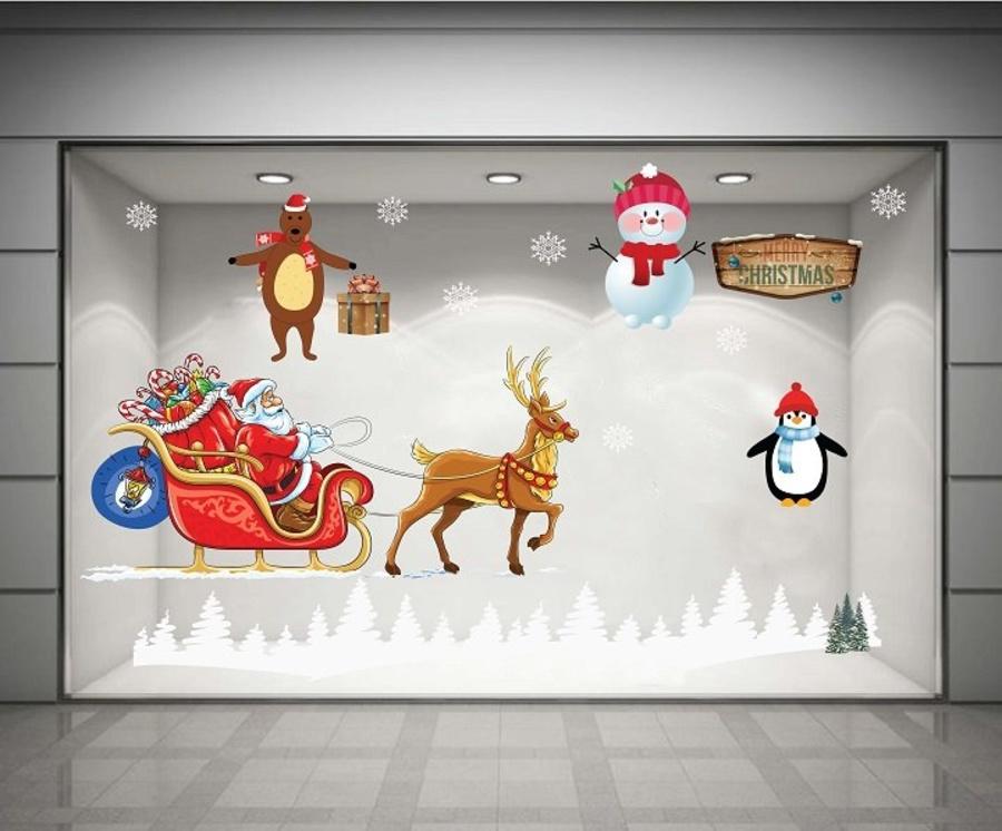 Decal dán tường Ông già Noel và xe quà