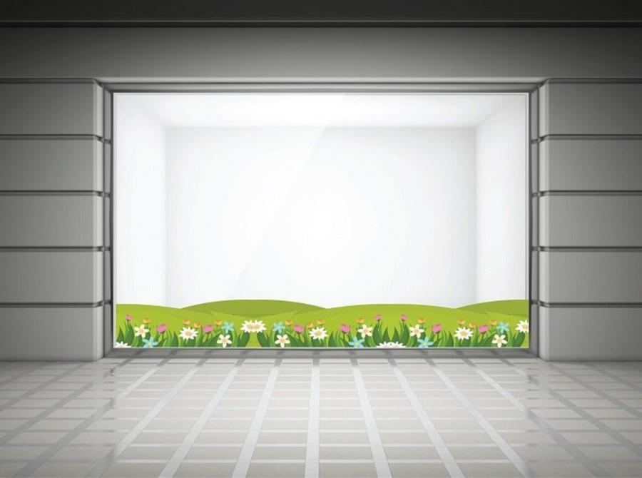 Decal dán chân tường hoa cỏ mùa xuân