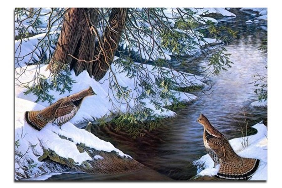 Tranh treo tường phong cảnh đôi chim mùa đông