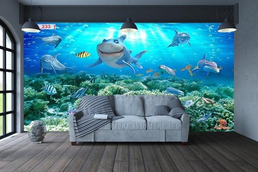 Tranh Dán Tường Phong Cảnh Biển Sắc Màu Đại Dương 3D (2)
