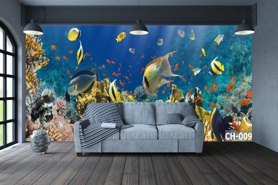 Tranh Dán Tường Phong Cảnh Biển 3D Sắc Màu Đại Dương