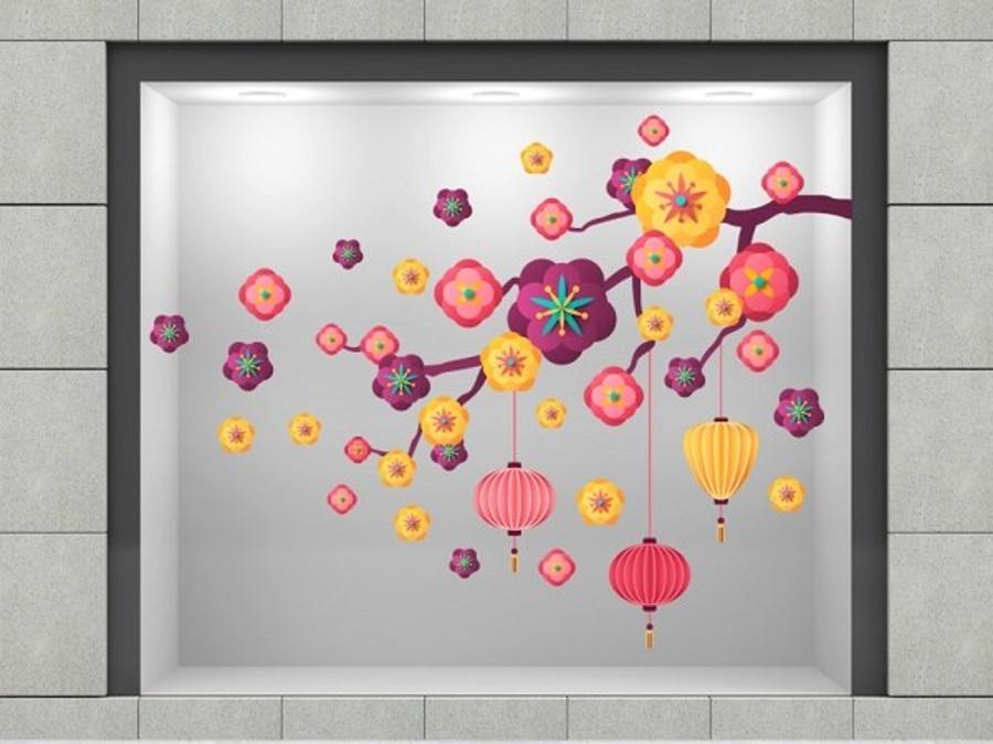 Decal trang trí tết hoa đào cách điệu 2