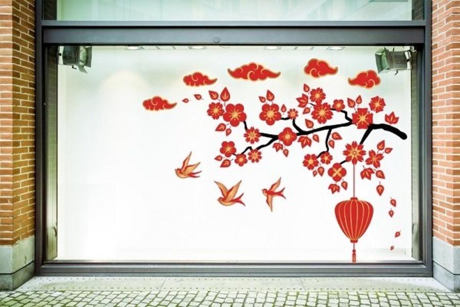 Decal trang trí tết hoa đào đỏ đón tết cách điệu 2