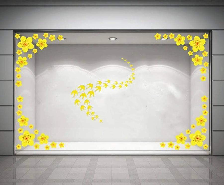 Decal trang trí tết mai vàng và chim én đón xuân