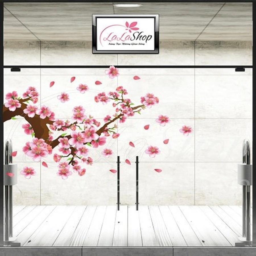 Decal cành đào hồng may mắn 3 size 80x120cm