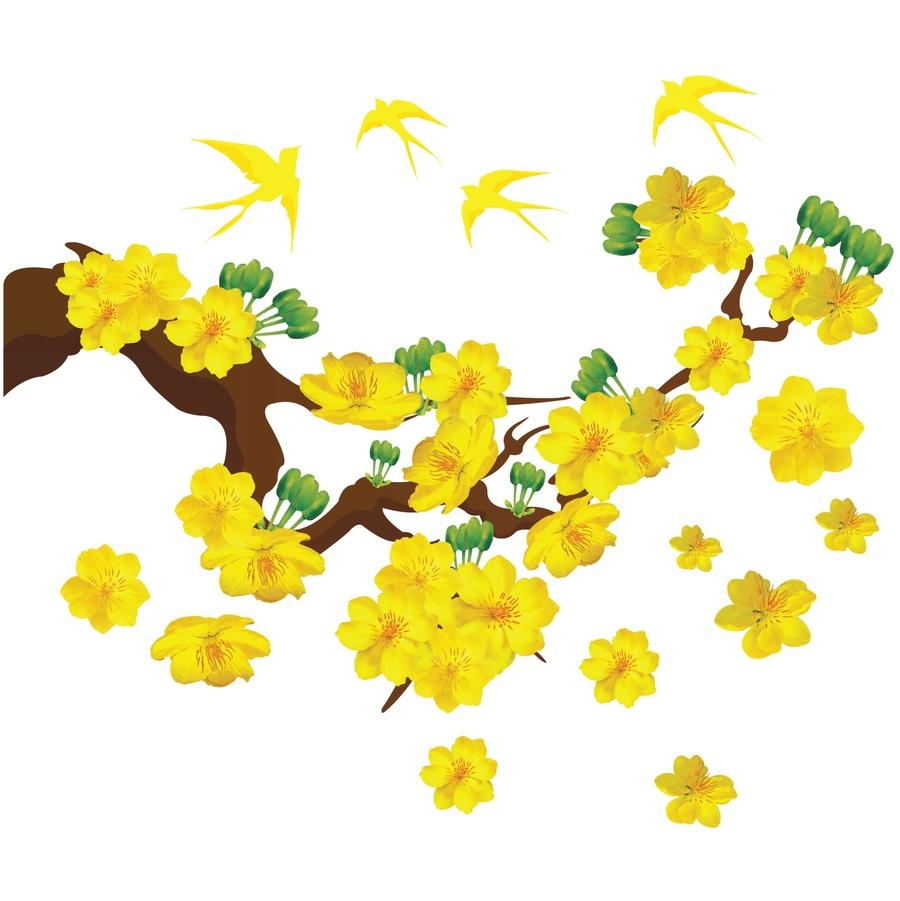 Decal mai vàng và chim én đón xuân 3 size 80x120