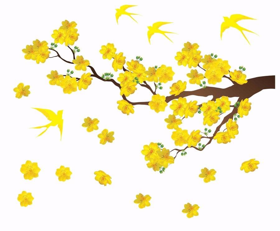 Decal mai vàng và chim én đón xuân 4 size 3 tấm(100x150Cm)