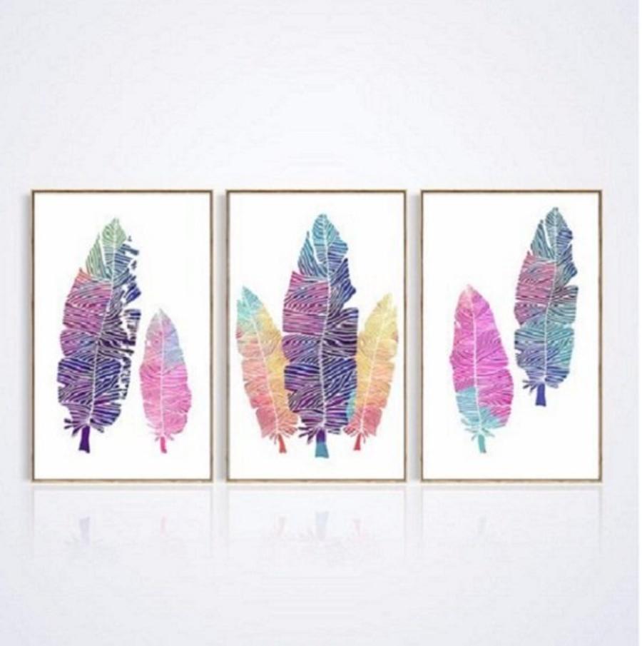 Tranh treo tường lá màu sắc cách điệu