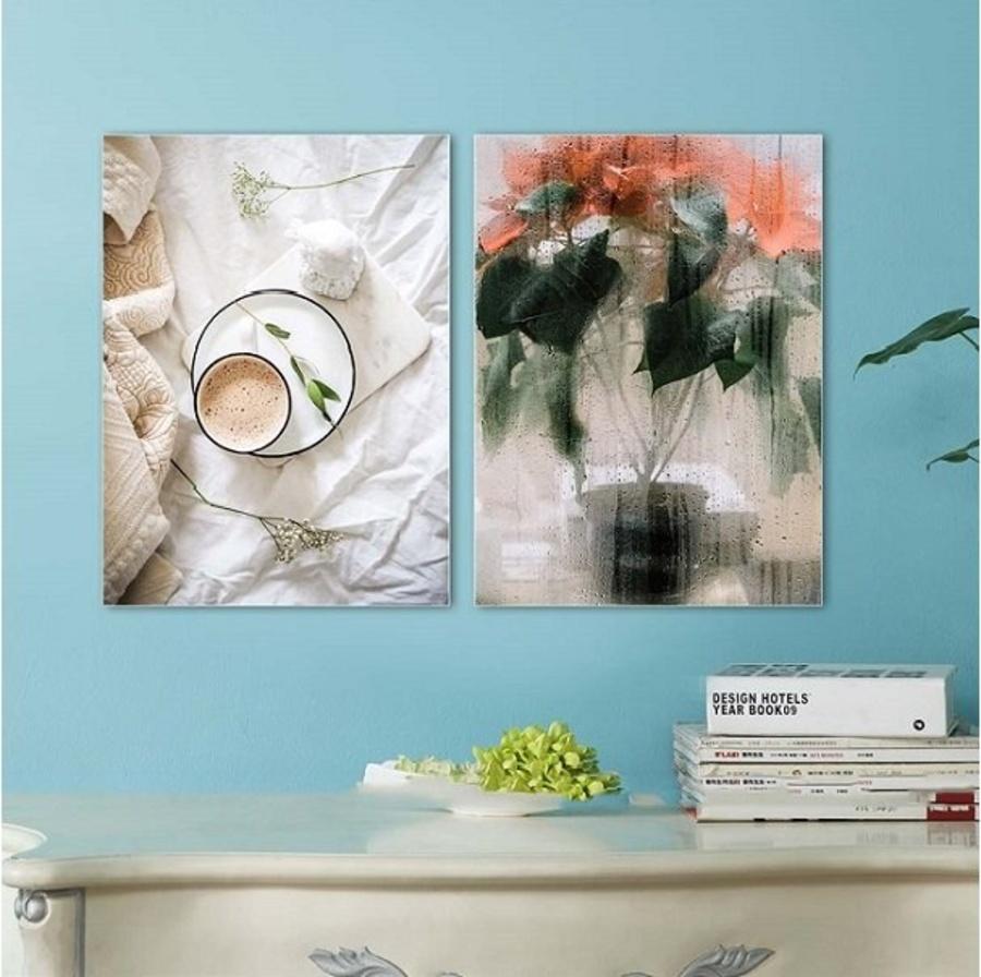 Tranh treo tường nghệ thuật Cà phê sáng và hoa (HG)
