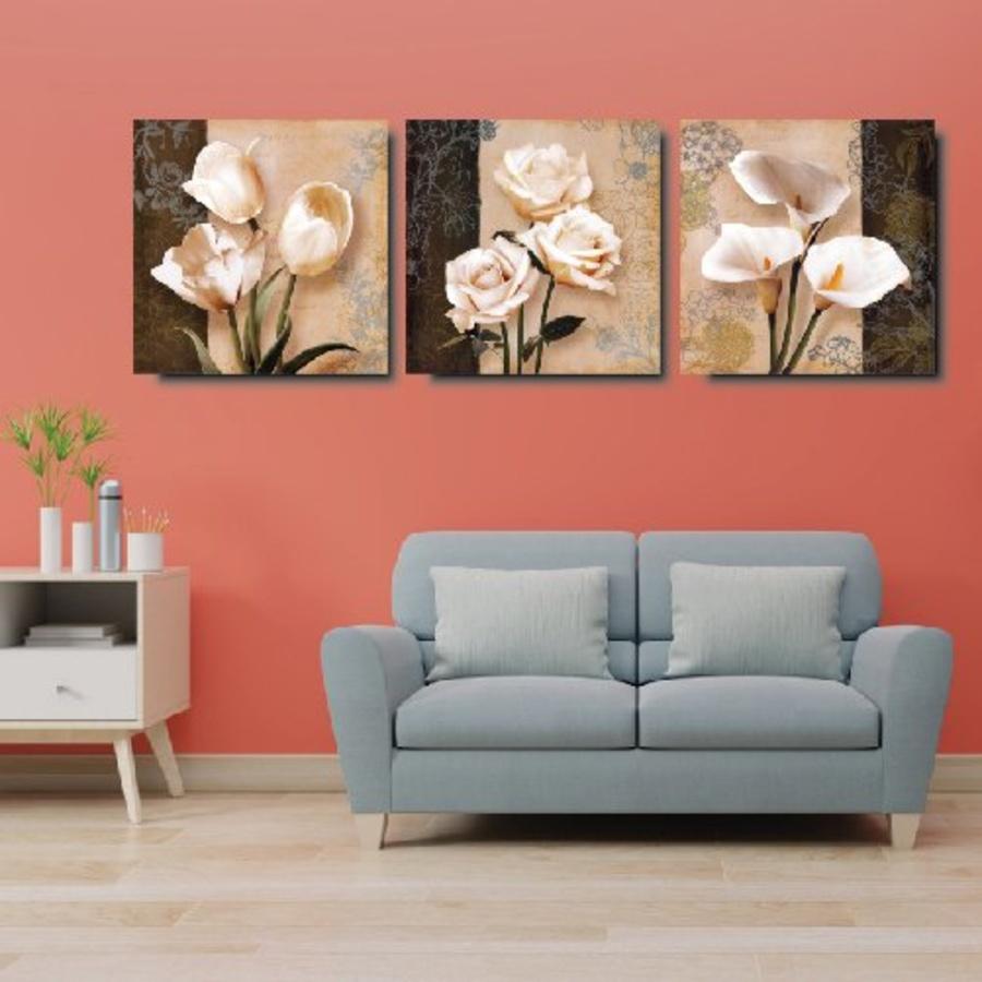 Bộ tranh treo tường hoa cổ điển 3 bức (LA)