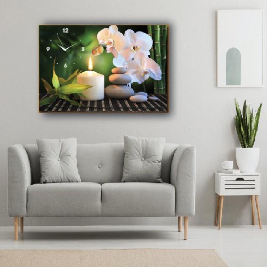 Tranh Đồng Hồ 1 Tấm Spa ánh nến và hoa lan trắng