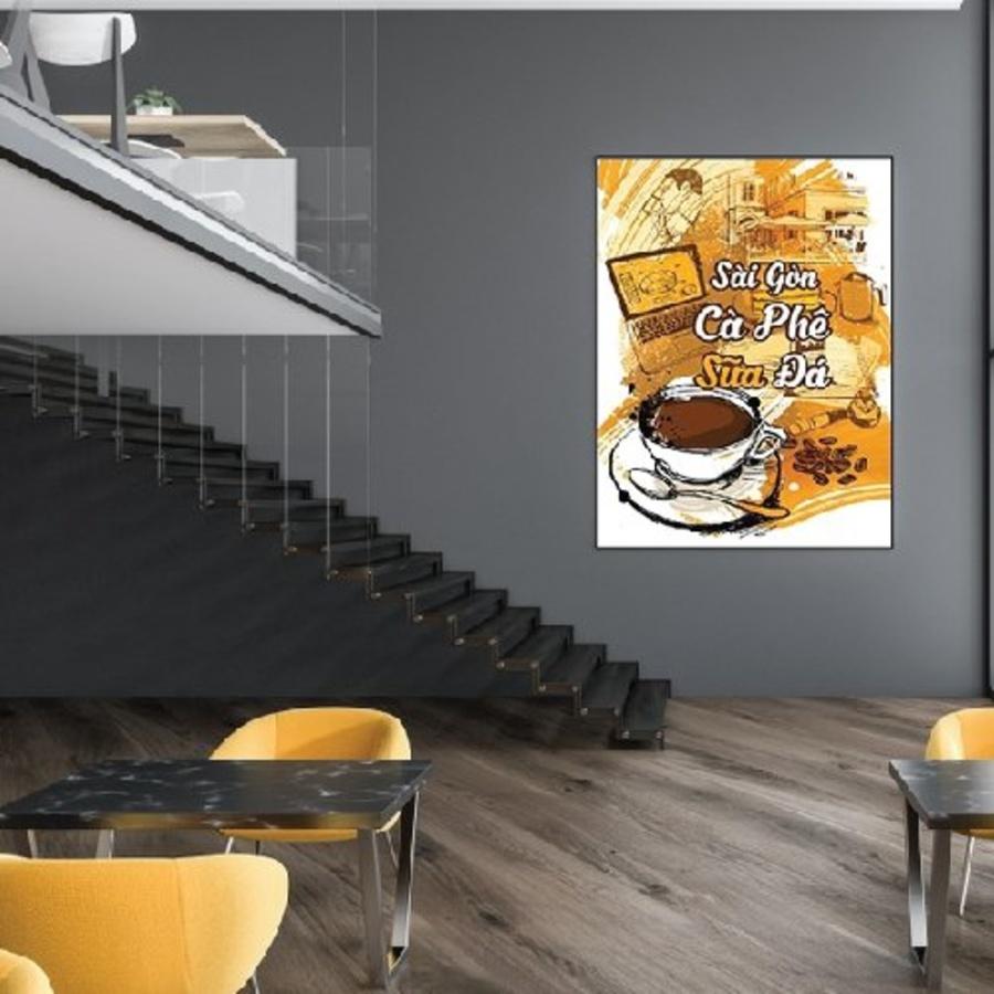 Tranh Sài Gòn cà phê sữa đá