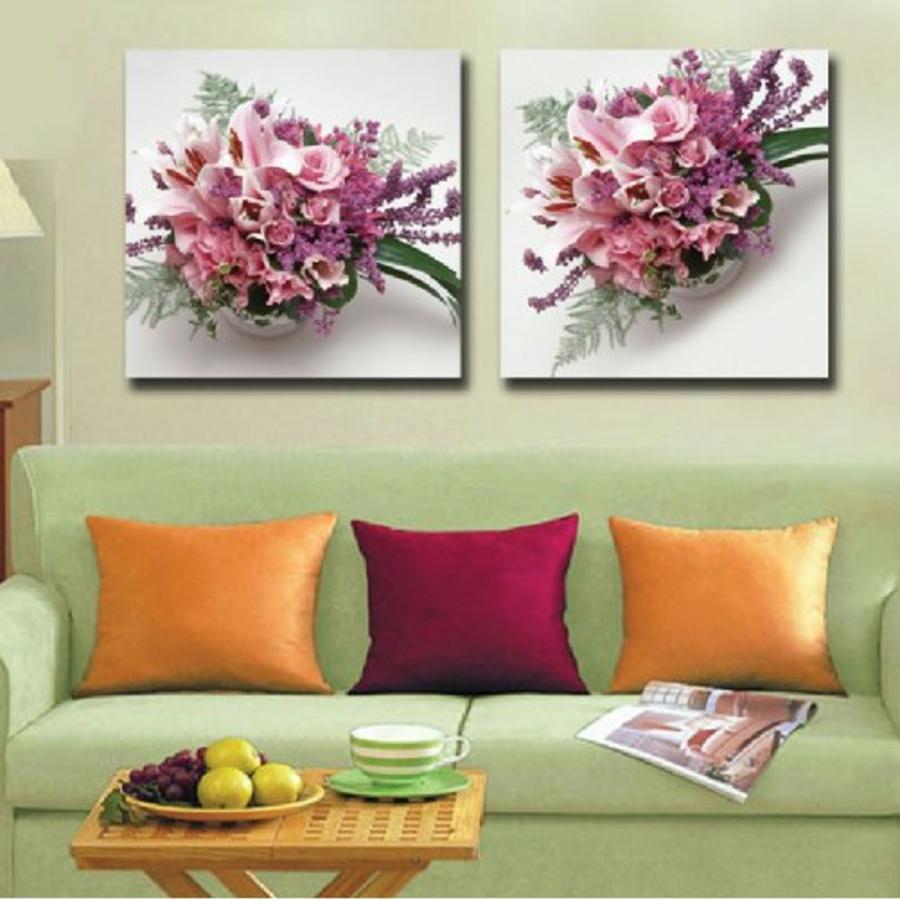 Tranh treo tường bình hoa ly hồng
