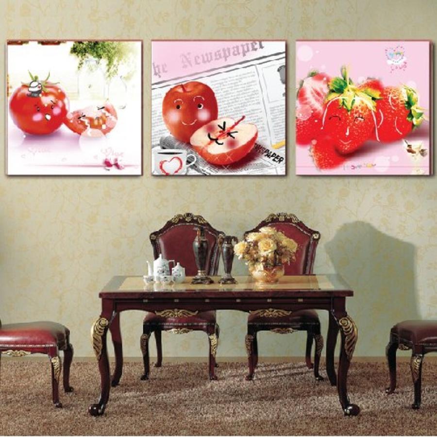 Tranh treo tường trái cây đỏ ngộ nghĩnh