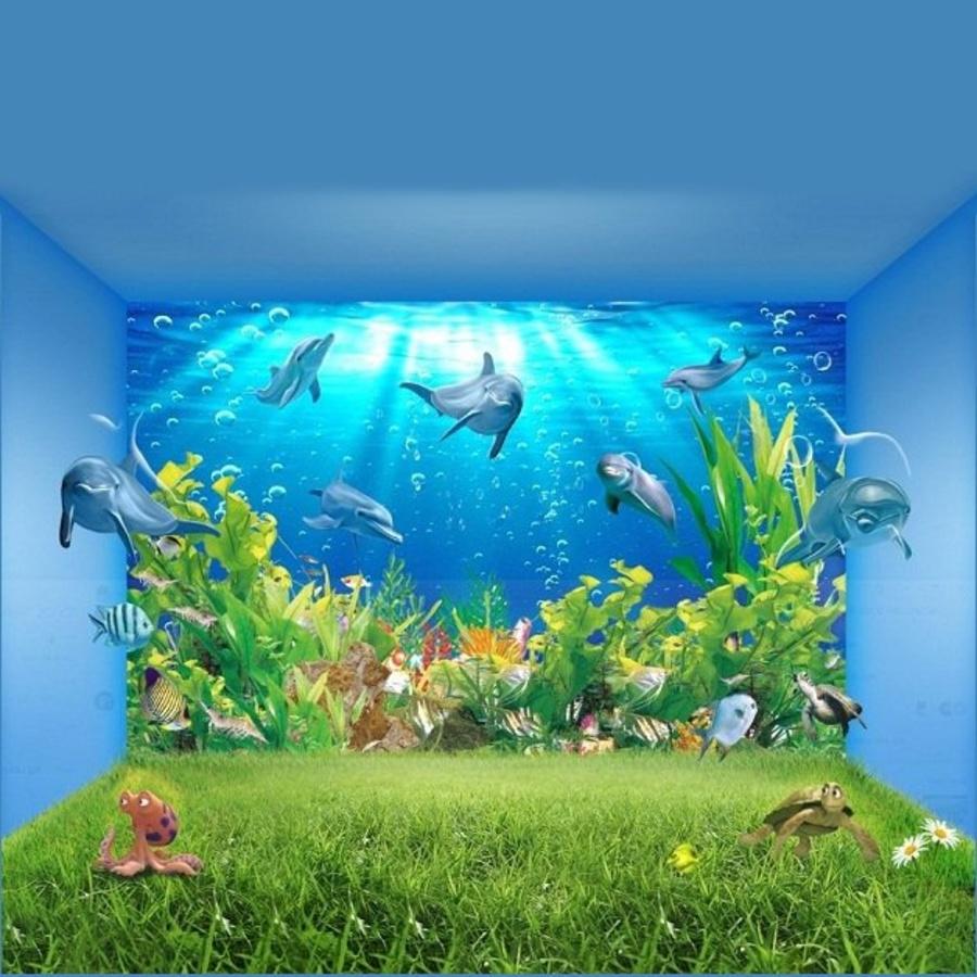 Tranh dán tường cá heo xanh