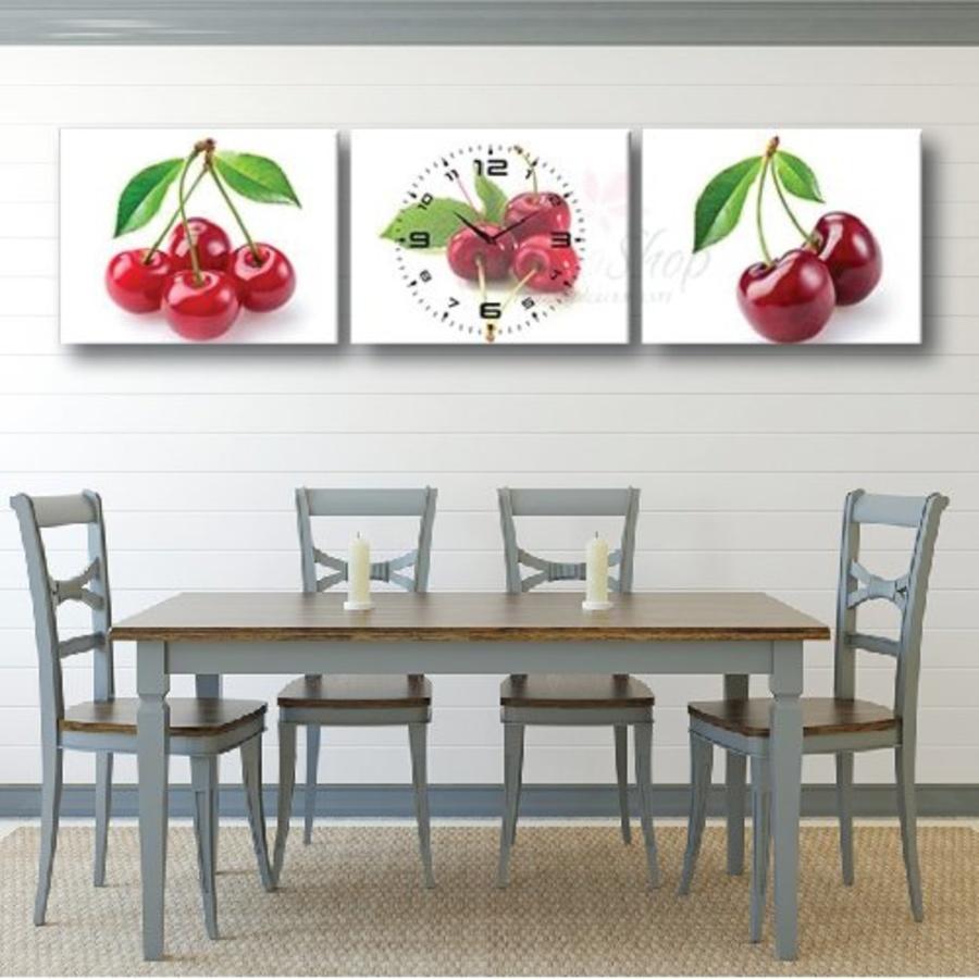 Tranh đồng hồ 3 tấm Cherry