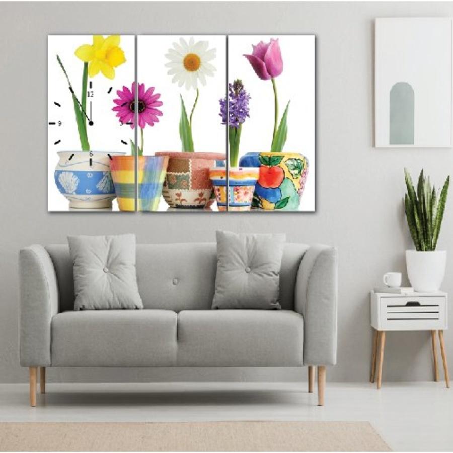 Tranh đồng hồ Chậu hoa 3 tấm 60x30x3