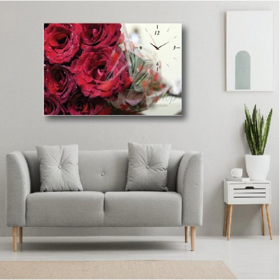 Tranh đồng hồ Hoa hồng nhung đỏ