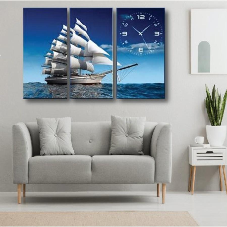 Tranh đồng hồ thuận buồm xuôi gió 3 tấm 30x60x3