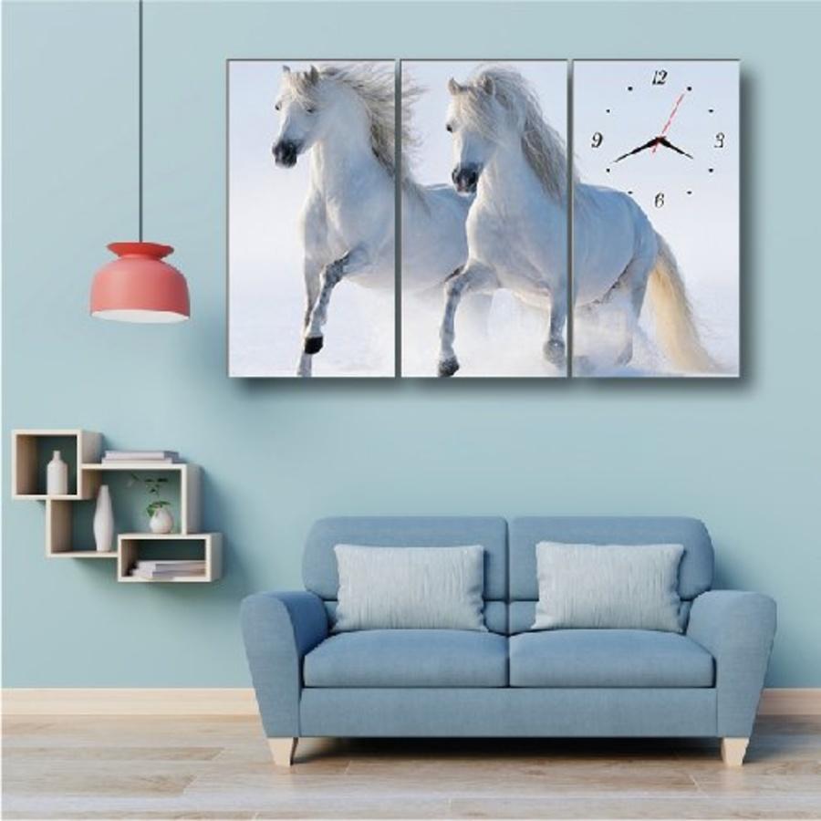 Tranh đồng hồ đôi ngựa