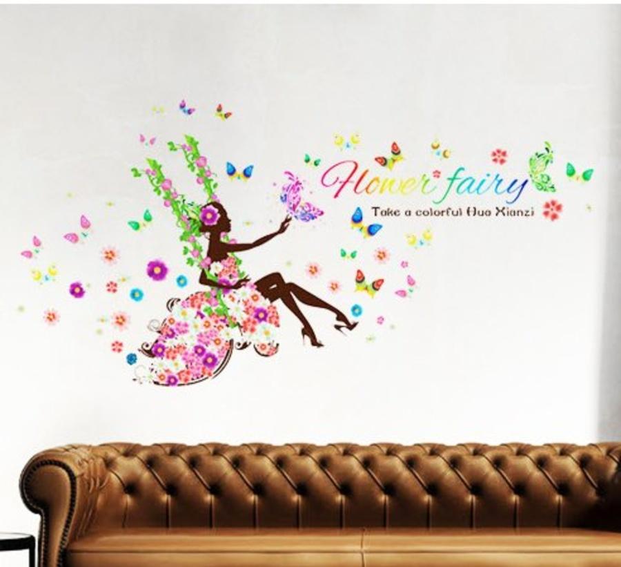 Decal dán tường xích đu hoa