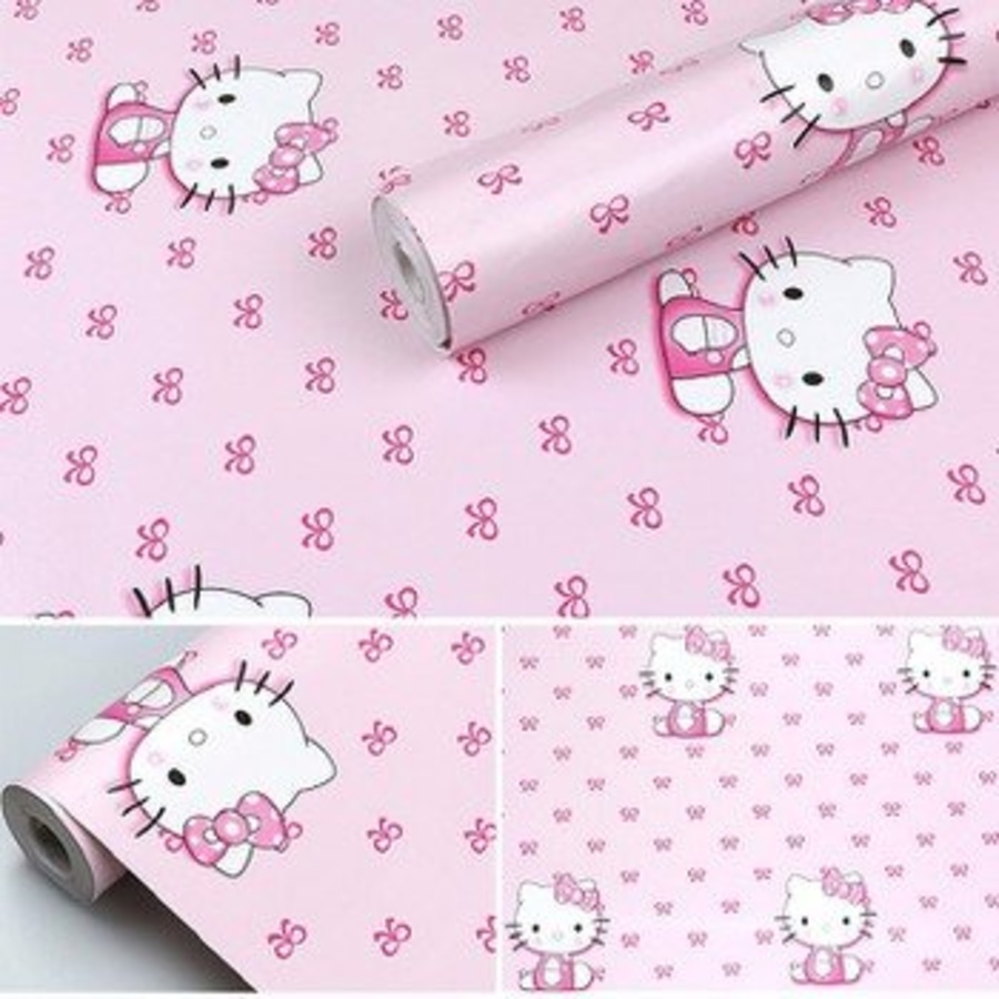 Giấy decal cuộn kitty hồng 5 khổ 0.9m