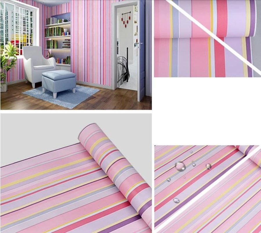 Combo giấy decal cuộn sọc hồng nhạt khổ 0.45x5m