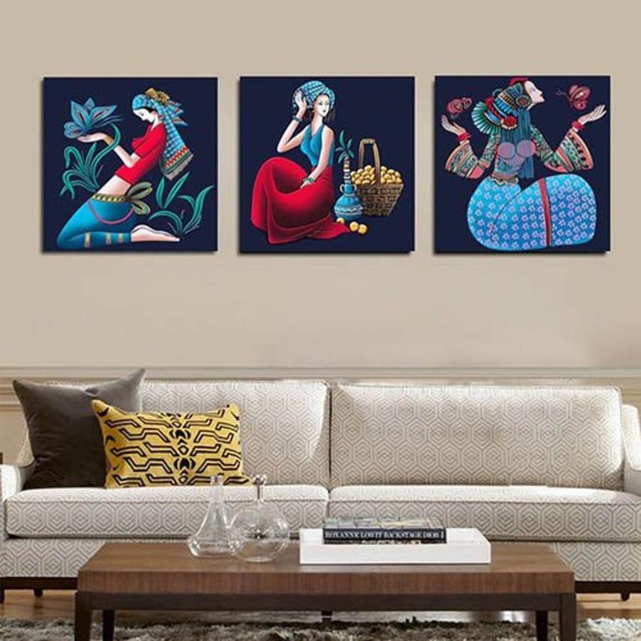 Tranh treo tường bộ 3 cô gái nghệ thuật (HG)
