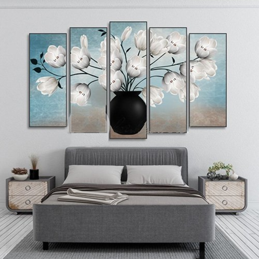 Tranh treo tường bình hoa trắng (HG)