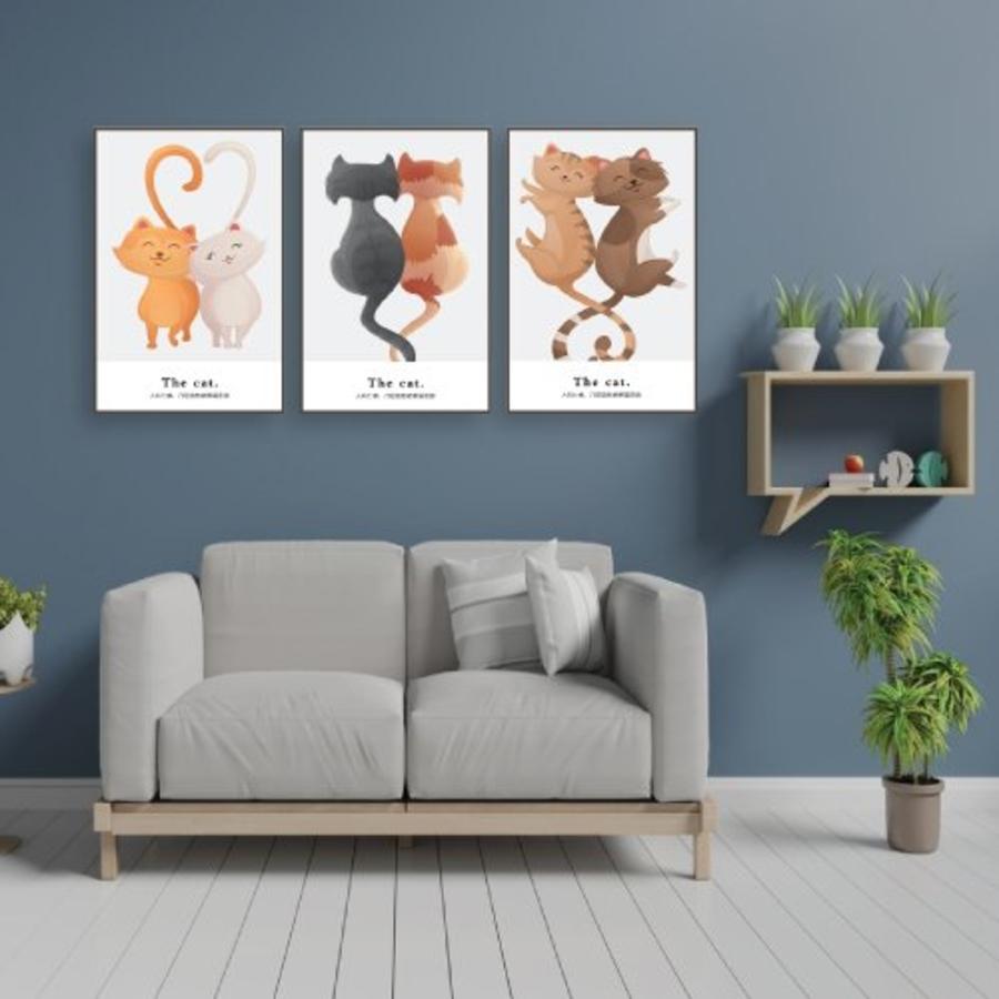 Tranh treo tường đôi mèo hạnh phúc (KE-019)