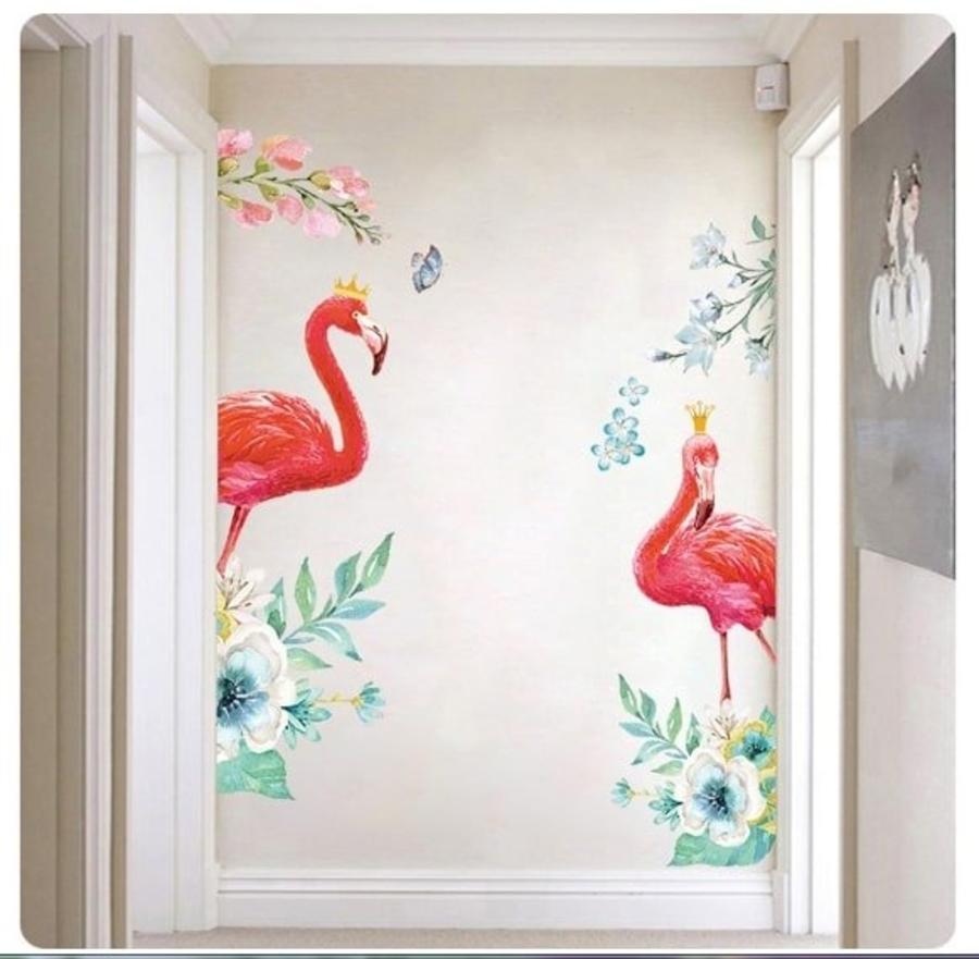 Decal dán tường chim hạc nghệ thuật 5
