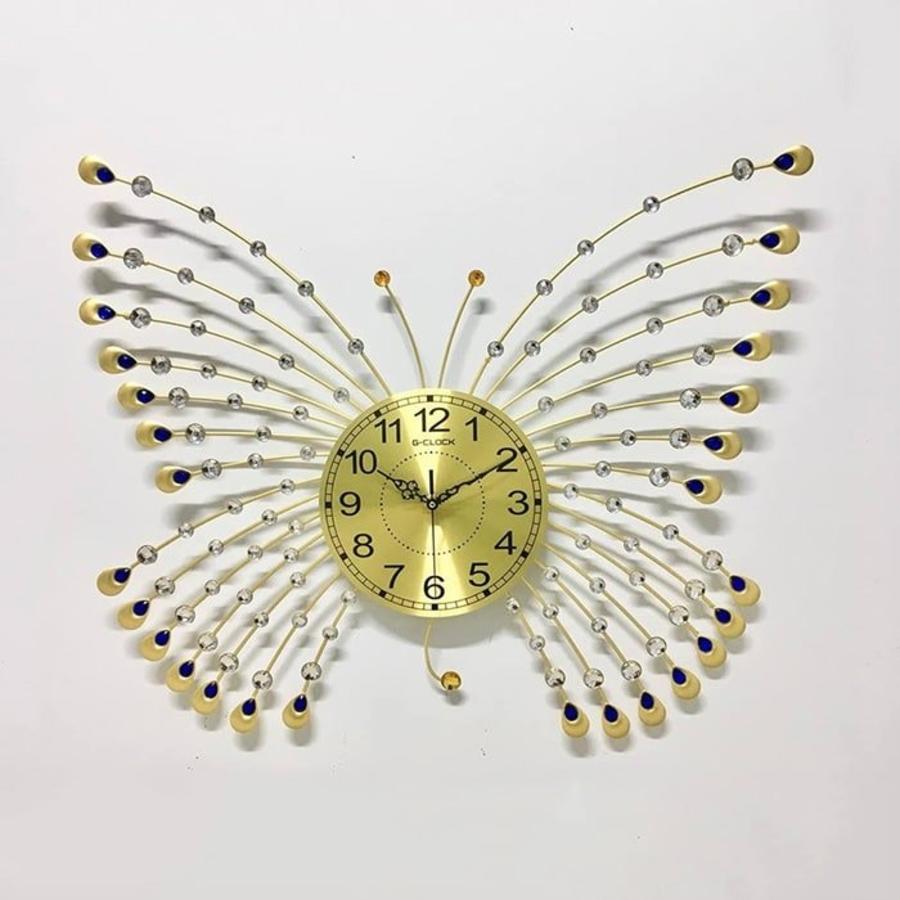 Đồng hồ treo tường đính đá hình cánh bướm 3