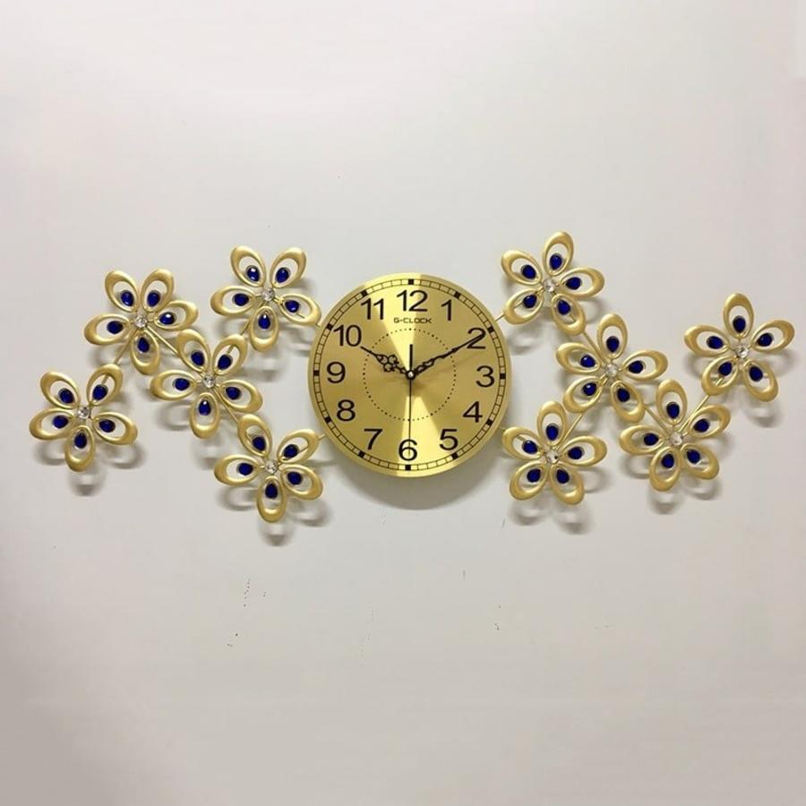 Đồng hồ treo tường đính đá hoa 5 cánh