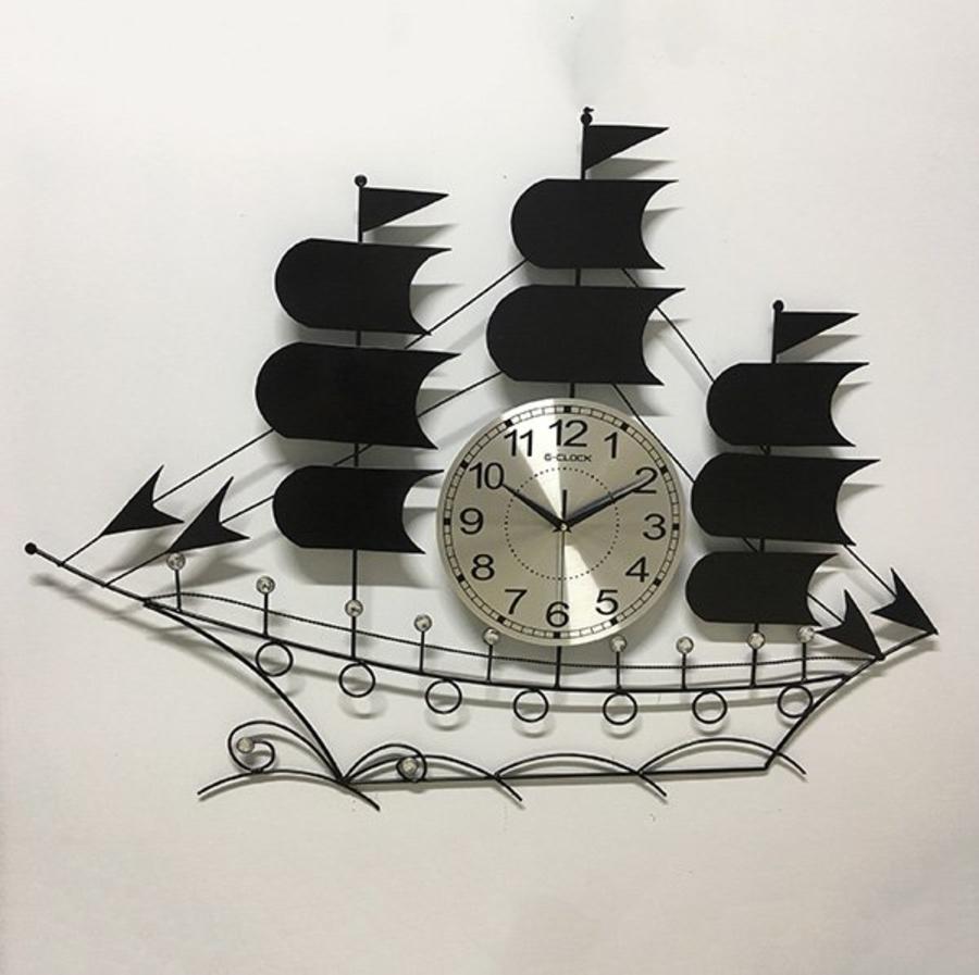 Đồng hồ treo tường đính đá thuyền buồm